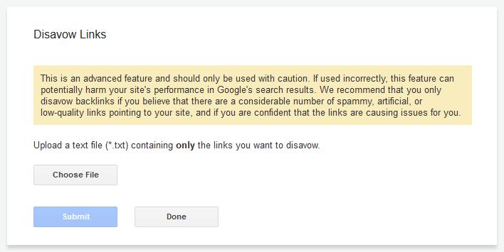 google disavow upload