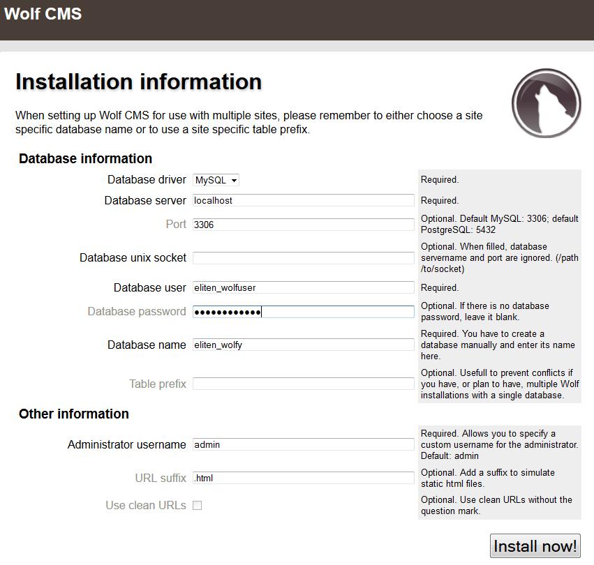 wolf cms install