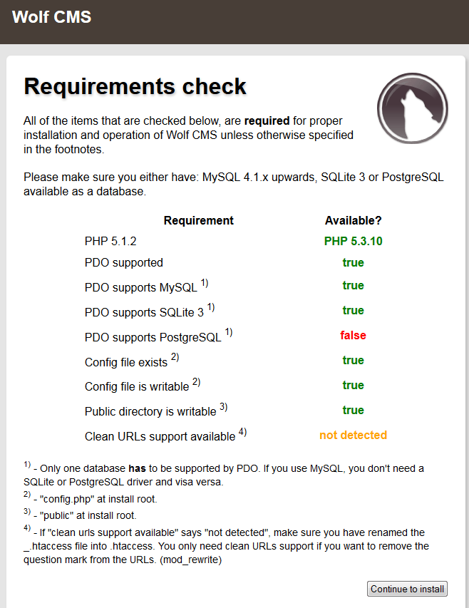 wolf cms install requirements