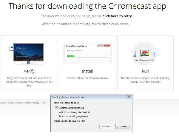 thanks for downloading Chromecast