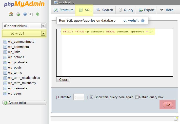wordpress delete comments php myadmin