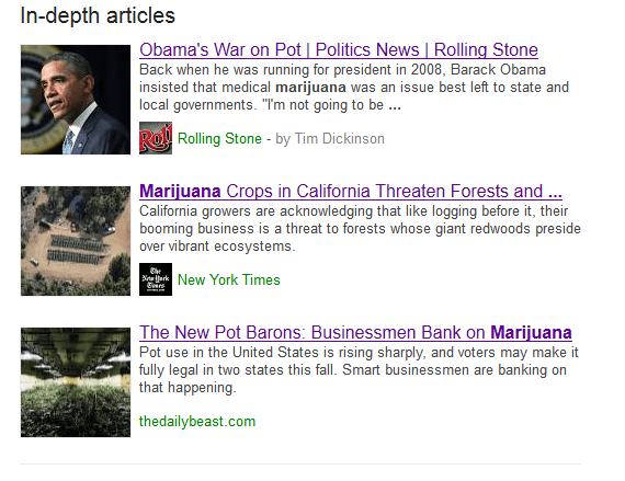 Google in depth article SERP result
