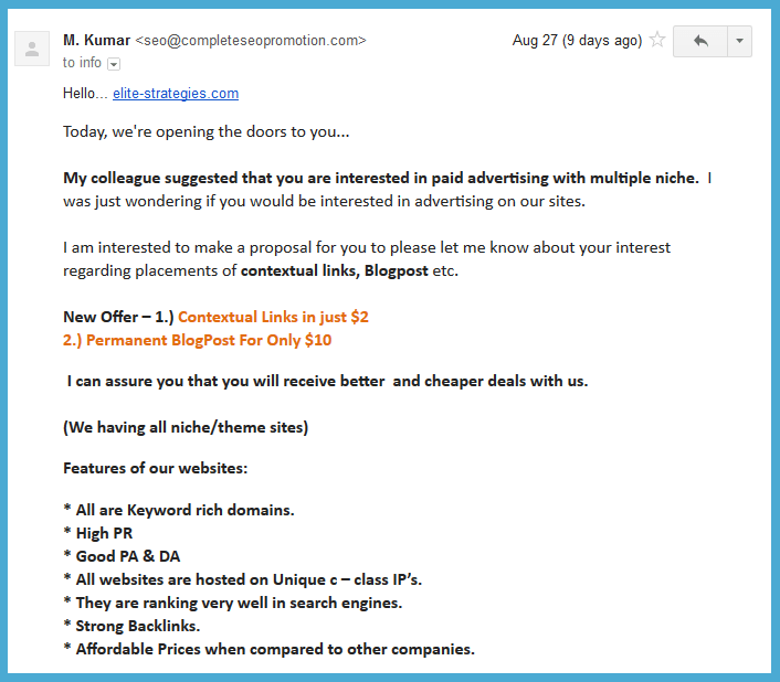 advertising spam