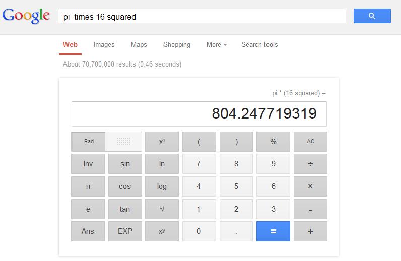 pi times 16 squared