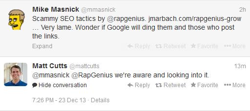 matt cutts twitter rap genius