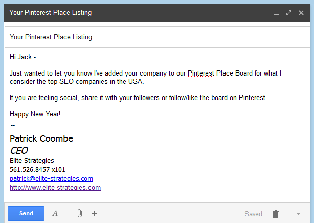 pinterest place email