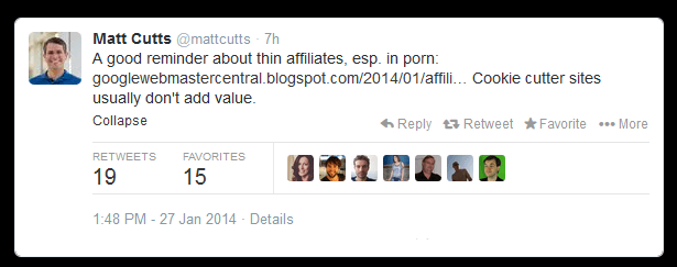 tweet matt cutts thin affiliate sites