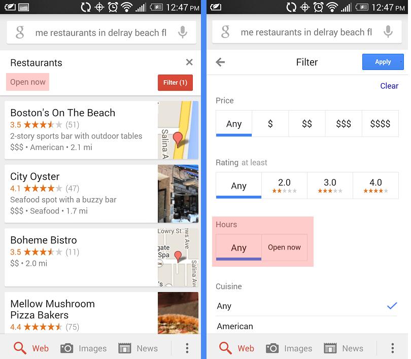 google mobile serp restaurant