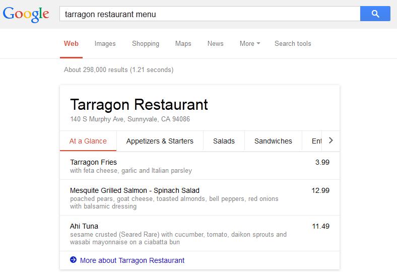 restaurant menu search results