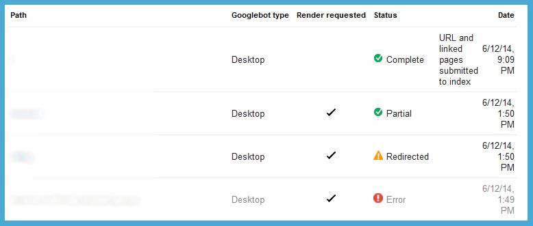 webmaster tools fetch success