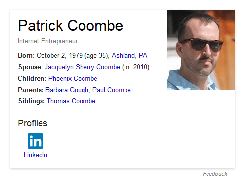 patrick coombe social network icons SERPS SEO