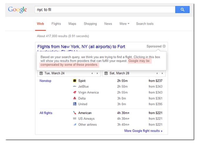 flights google airline SERPs