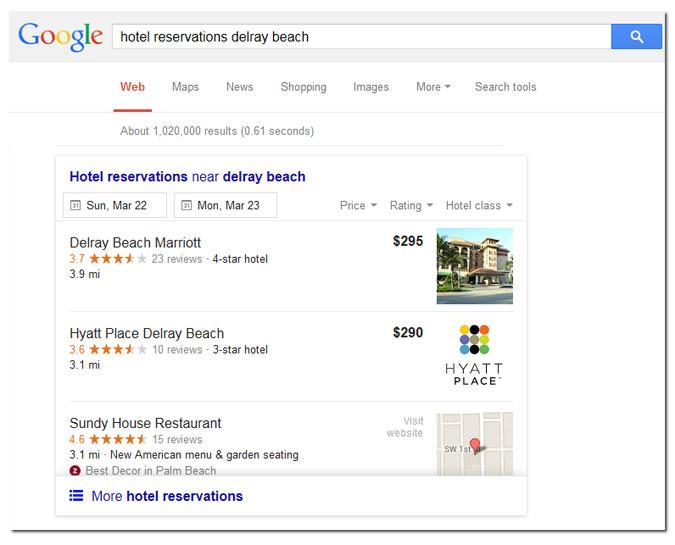 hotel reservation google SERPs