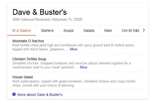 google menu search results